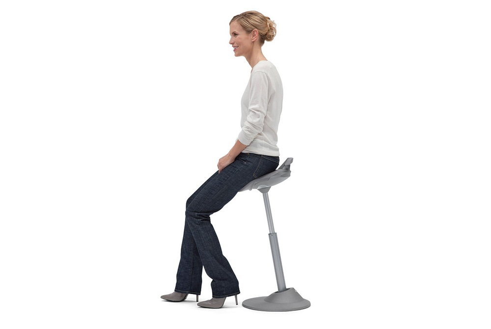 MUVMAN Stool is a dynamic seating solution for seated to standing height counters.