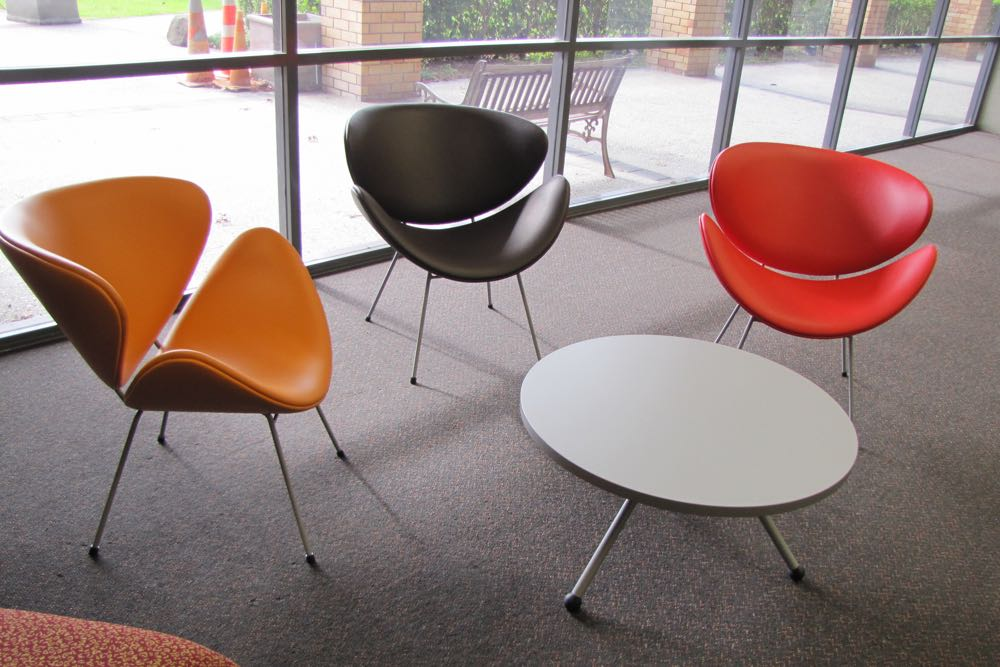 ANNA D Chairs with EXPRESSO Round Table, in autumn hues at Laidlaw College.