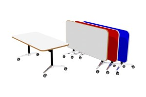 T1 RECTANGULAR Table mounted on UR Tiltbase, conveniently tilts for easy storage.