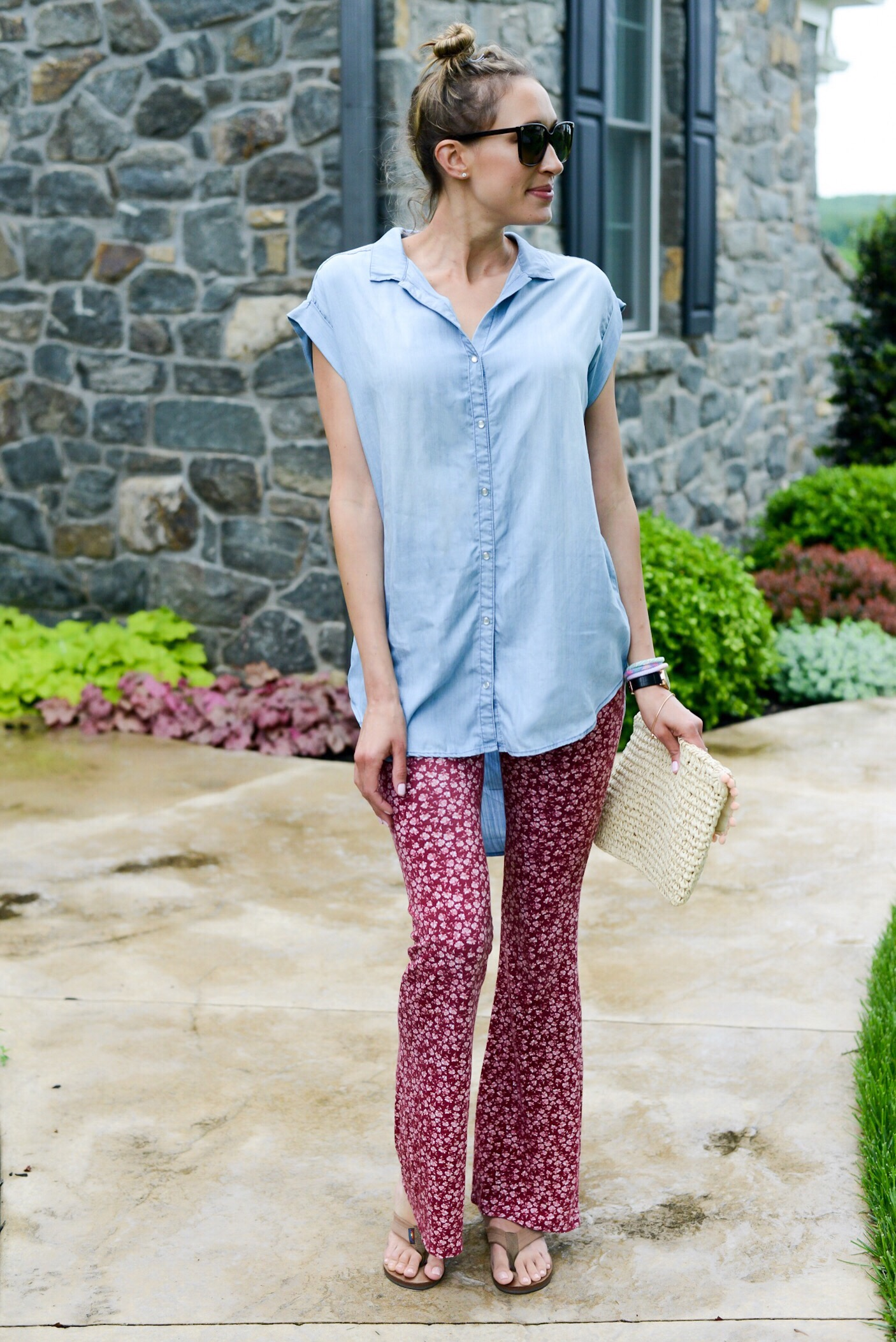 floral flared pants, chambray top