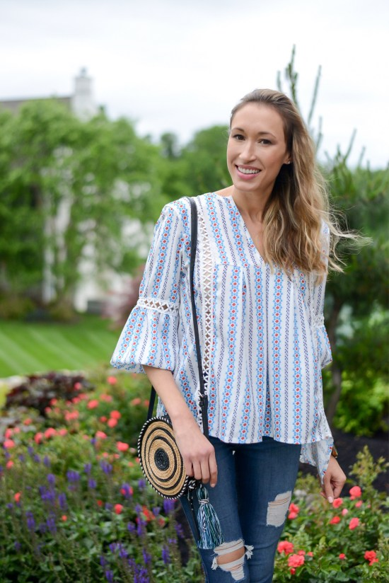 Summer Fashion Amazon Finds Under $21 (See My Outfits!)- boho top and circle bag