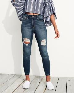 high-rise stretch skinny jeans; distressed