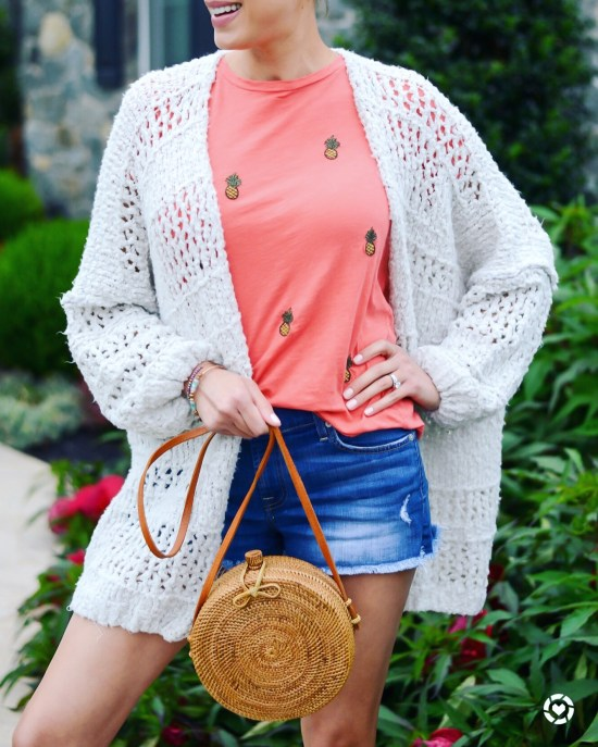 Instagram Roundup- Summer 2018- Free People Saturday Morning cardigan, pineapple tee, rattan bag, fall outfit
