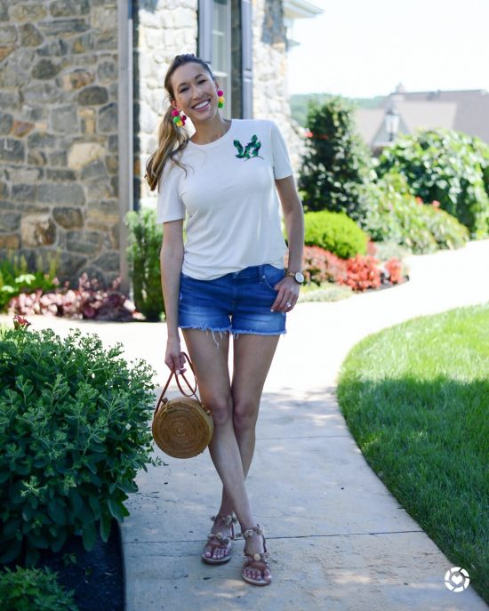 Instagram Roundup- Summer 2018- cactus tee and pom pom sandals and earrings