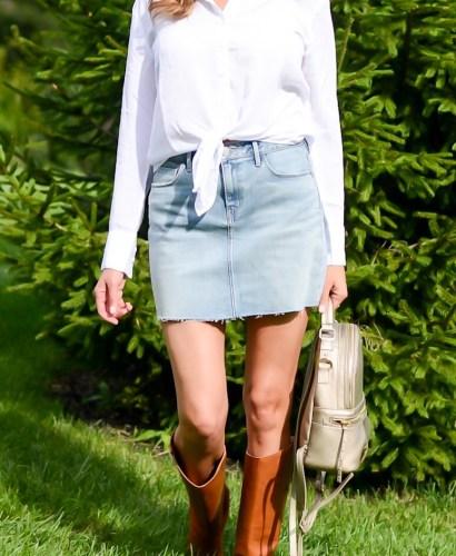Fall Wardrobe Basics You Need- white button down, denim mini skirt, brown boots, mini backpack