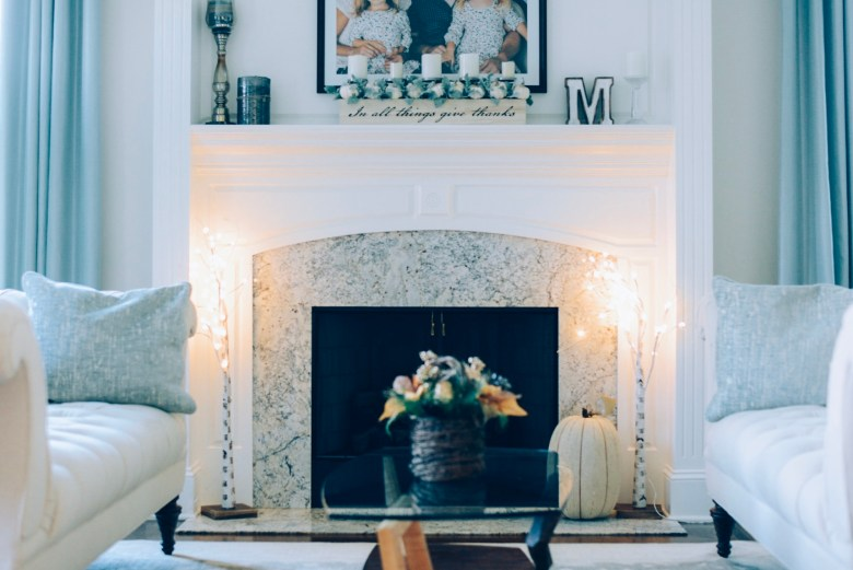 How I Decorated My Home Interior for Fall- formal living room mantel