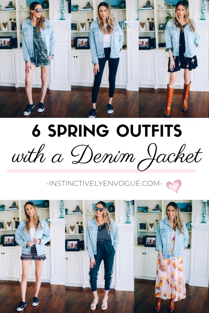 spring outfit ideas with a denim jacket