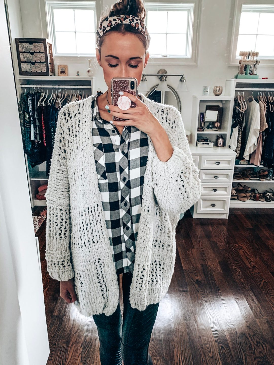 Fall or winter outfit with Time and Tru buffalo plaid button down and faux leather Spanx leggings