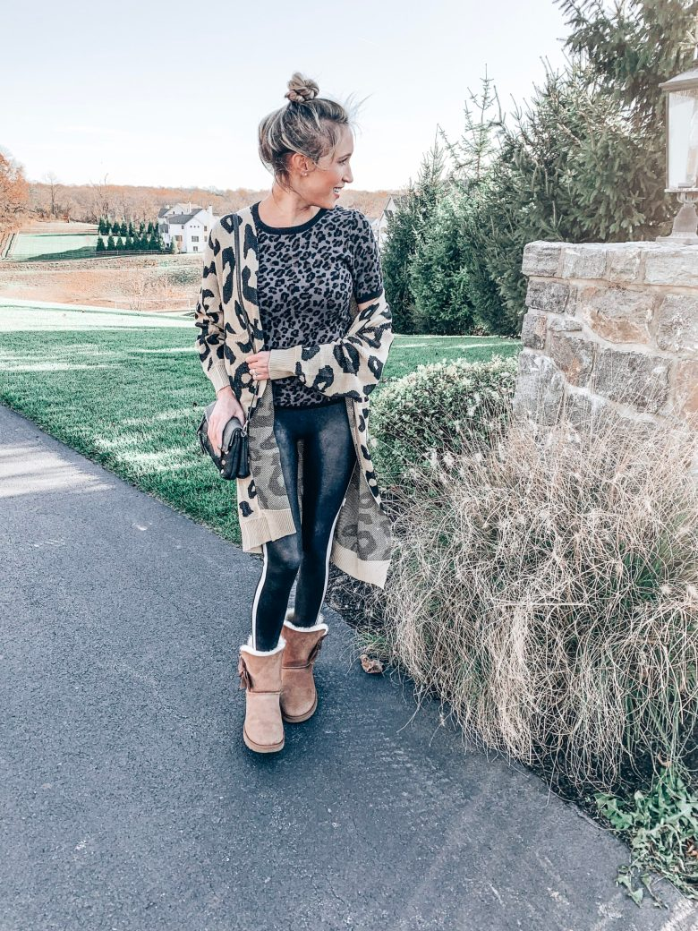 Long leopard print cardigan over a leopard print sweater tee and faux leather Spanx leggings; fall outfit; winter outfit