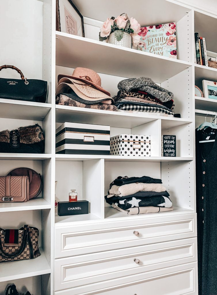master closet shelving and drawers