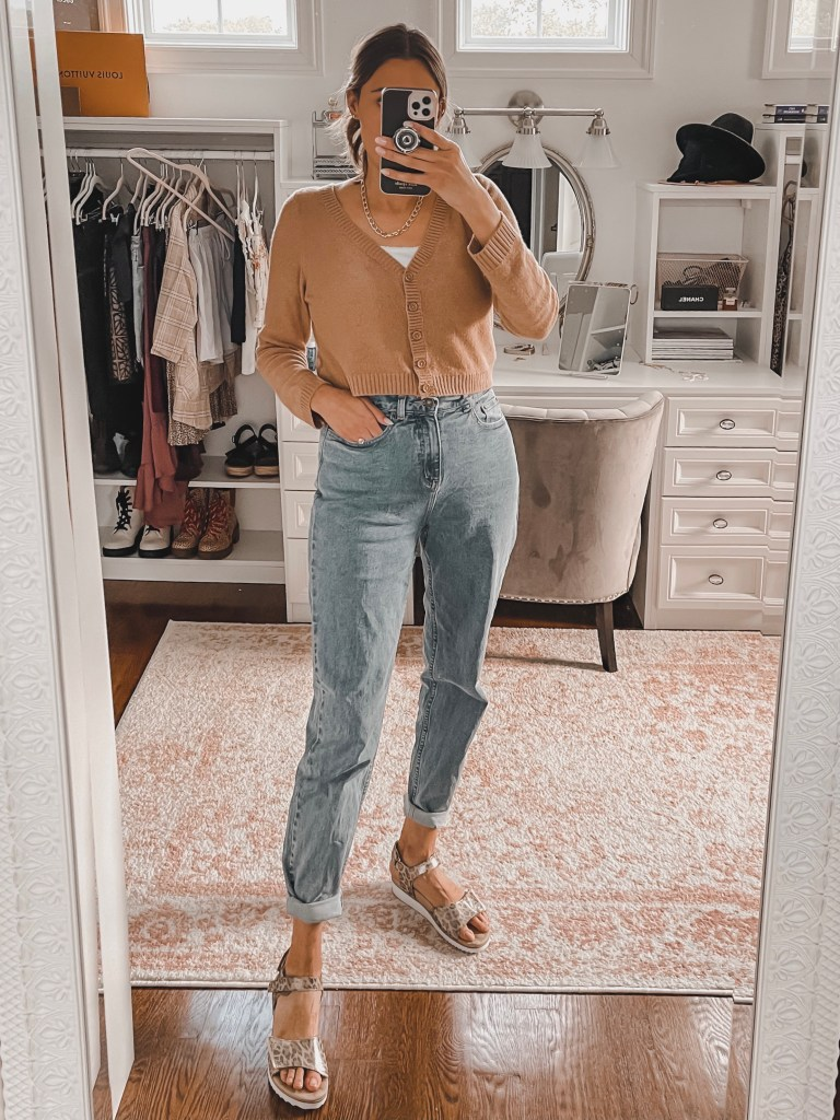 basic cardigan and mom jeans - tips on how to shop