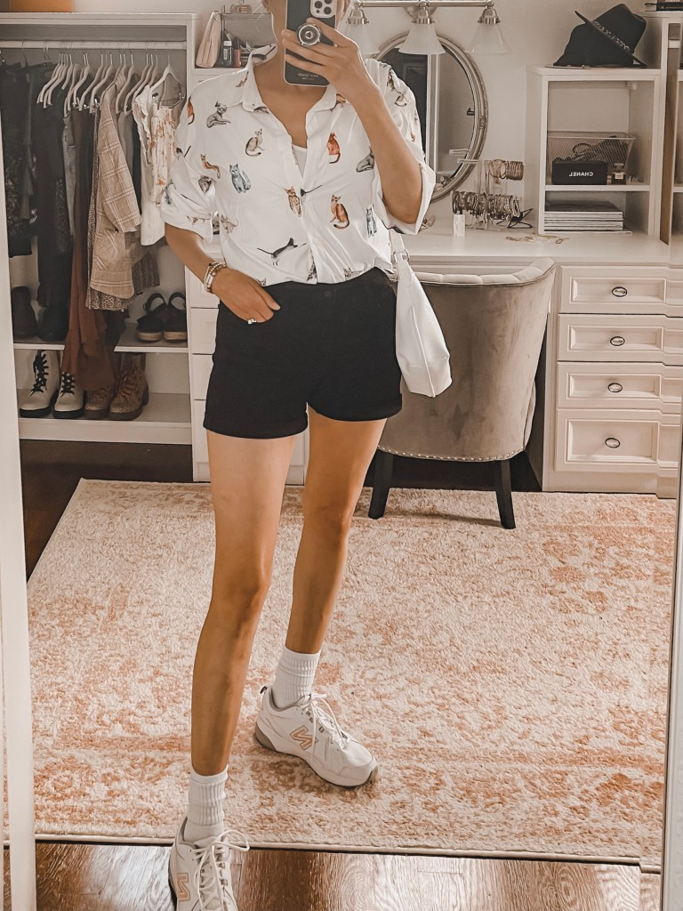 casual summer outfit with black shorts
