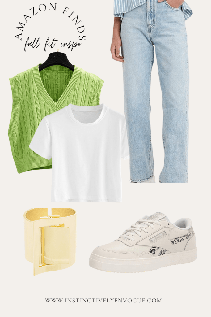 90s fashion outfit with a sweater vest