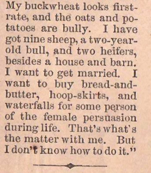 A Romantic News Clipping From 1865 Has Reddit (And Us) Swooning