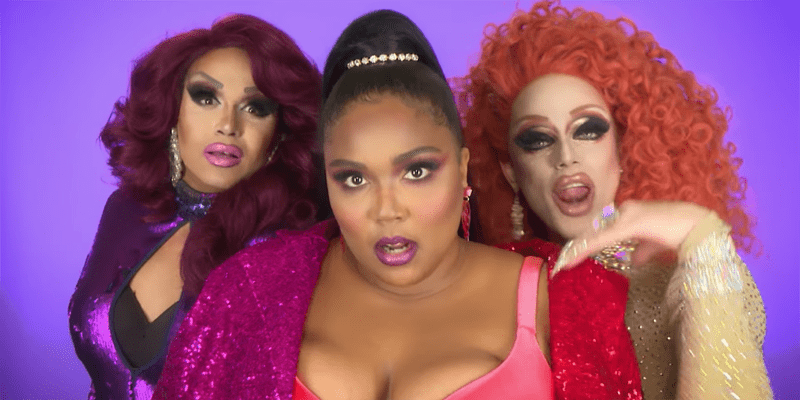 "Lizzo teams up with RPDR queens for some ""Juice"" fun (screen capture)"