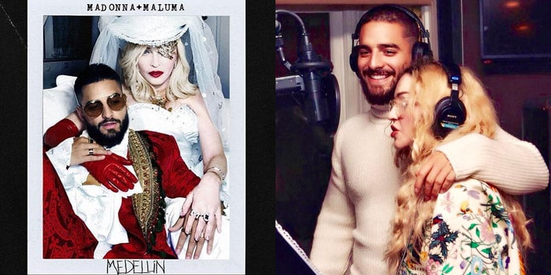 Madonna announces her new collaboration with Latin pop star, Maluma (images via Instagram/Madonna)