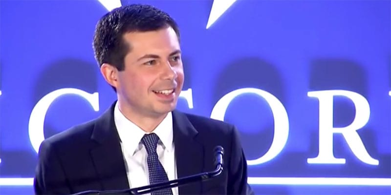 Mayor Pete Buttigieg addressed the LGBTQ Victory Fund brunch in Washington DC (screen capture via YouTube)