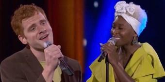 Jeremiah Lloyd Harmon & Cynthia Erivo on 'American Idol' (screen capture)