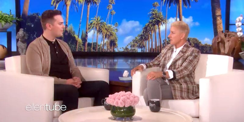 Matthew Easton chats with Ellen DeGeneres (screen capture)
