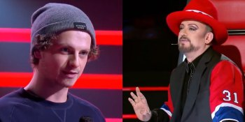 Daniel Shaw (L) and Boy George (R) have a testy moment on The Voice Australia (screen capture)