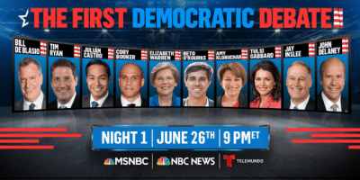 Night One of the first Democratic debates of 2020 presidential cycle (screen capture)