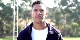 Former rugby player Israel Folau (screen capture via GoFundMe)