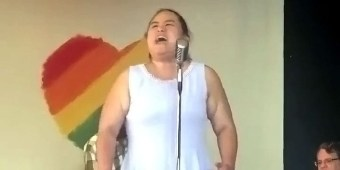Lavender Bell stood up to sing at a Pride event in Massachusetts and the audience was not ready for what happened next.