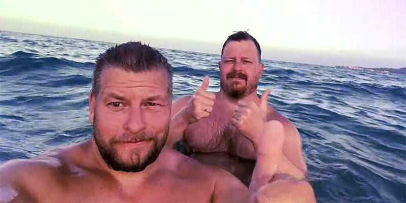 Paul Middleton and bf frolic in Sardinia, Italy (screen capture)