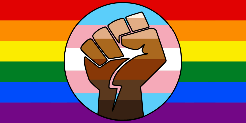 LGBTQ+ Pride flag incorporating rainbow flag, trans flag, and BIPOC fist