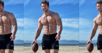 Billy Reilich plays some sports ball on the beach