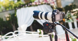 Photo of a video camera left abandoned at a wedding