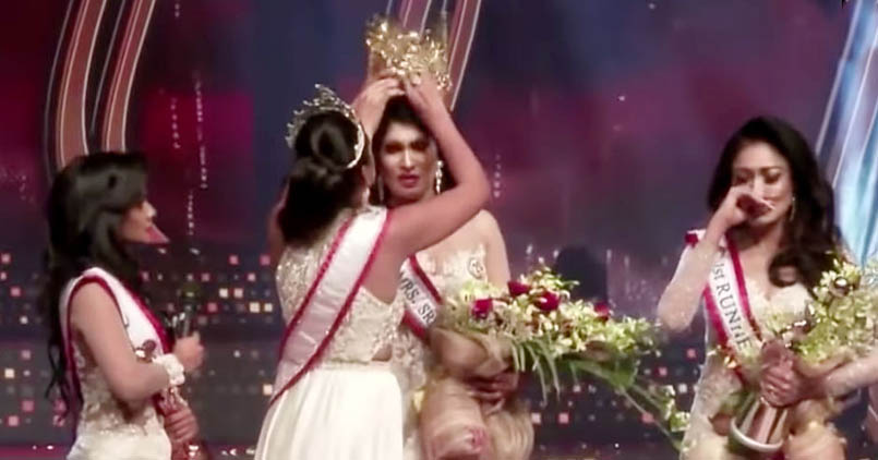 Former winner of the Mrs. Sri Lanka Pageant snatched the crown from winner on live tV
