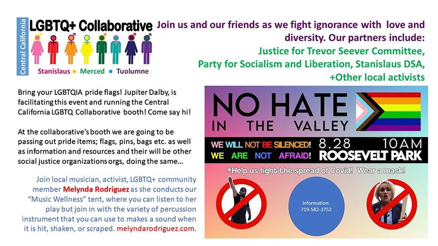 "Announcement for pro-LGBTQ+ event ""No Hate in the Valley"" in Modesto, California"