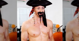 Daxton Bloomquist as a shirtless 'Captain Jack Sparrow'