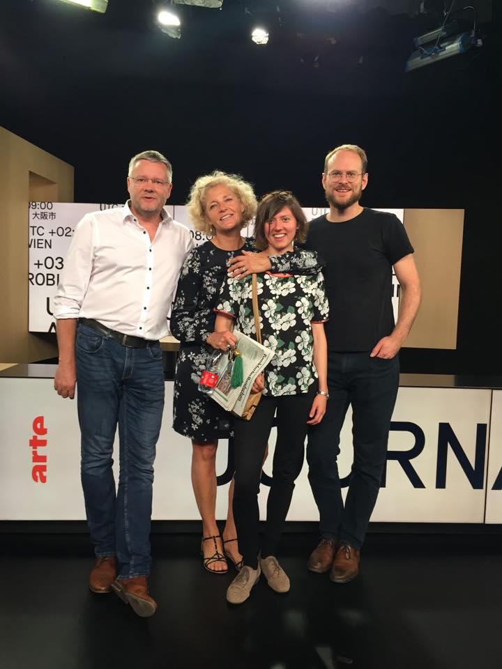 Marcus Ventzke und Johannes Grapentin vom Institut für digitales Lernen mit Annette Gerlach von ARTE