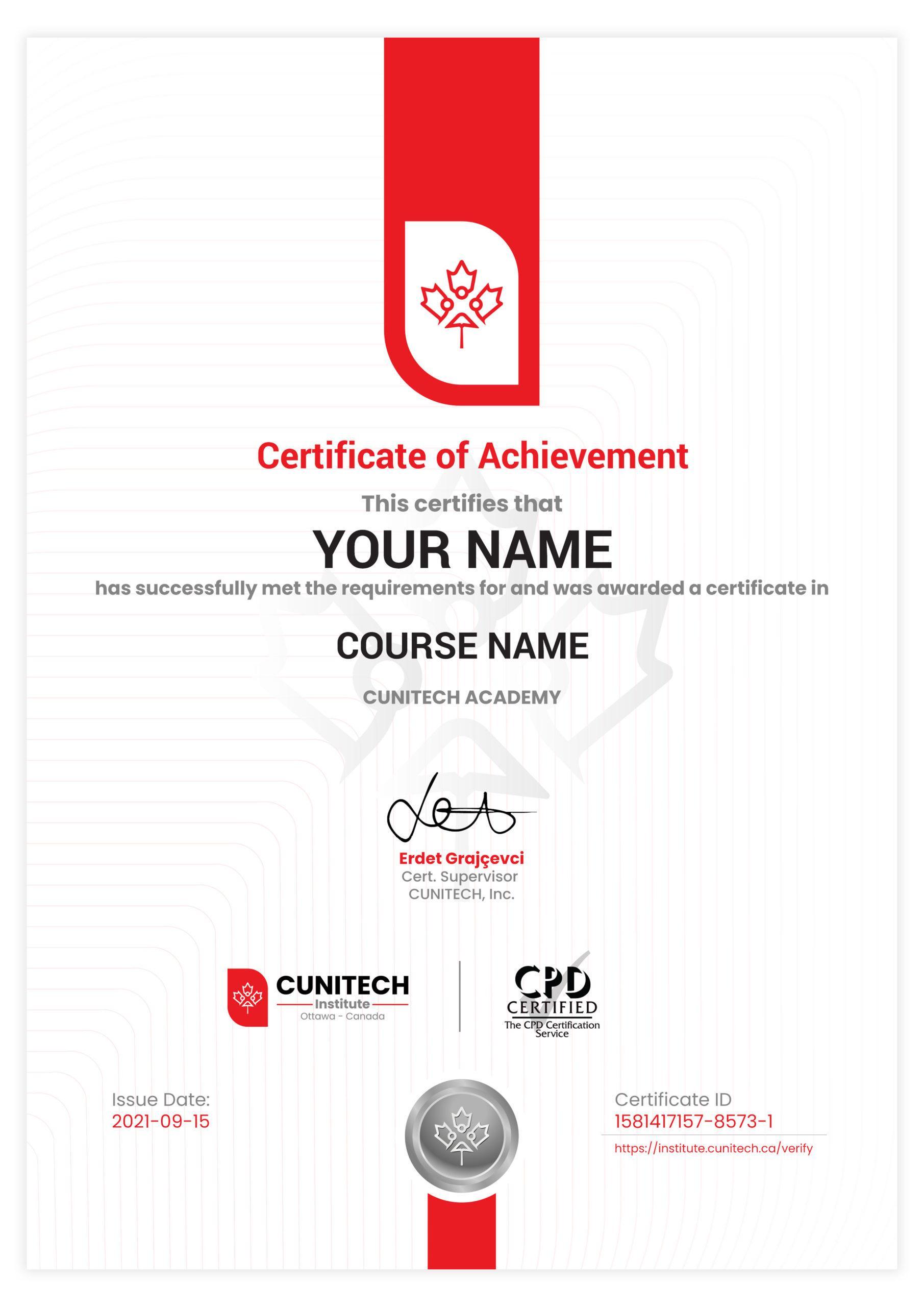 Cunitech Certificate Sample