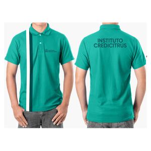 camiseta polo masculina intituto credcitrus na cor azul claro