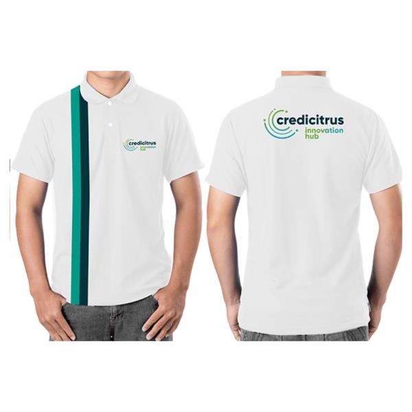 camiseta polo masculina intituto credcitrus na cor branca