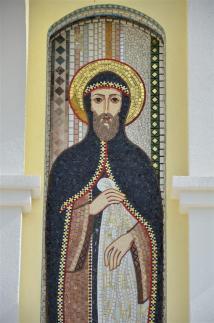 Mosaico de San Cirilo, ubicado en la fachada del nuevo templo