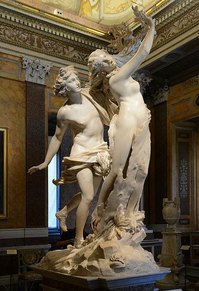 Apolo e Dafne, Gian Lorenzo Bernini. Galerie Borghèse, Roma. Estátua de 2.43m