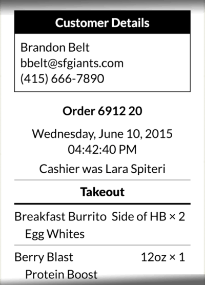 Restaurant POS order ticket