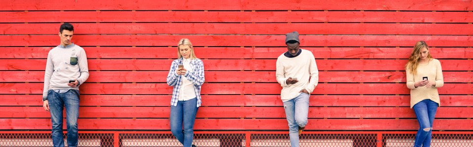 Young people with smartphones