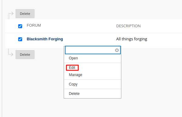 Action Button Menu with Edit Option Selected