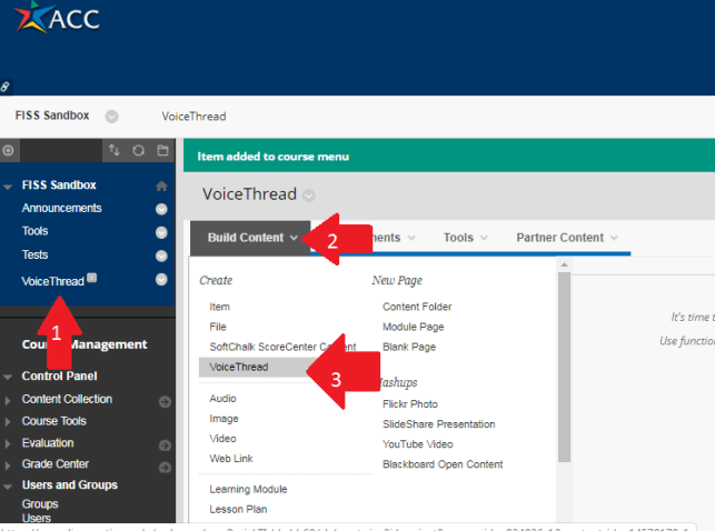 VoiceThread Content Area, with arrows indicating Build Content tab, and drop-down menu.