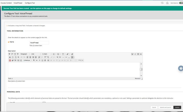 VoiceThread Configure Tool with options.