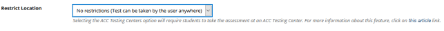 No restrictions option in test options