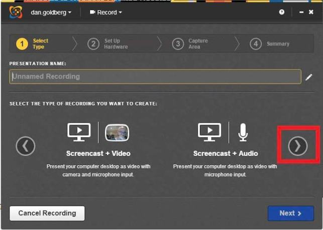 screenshot of mediasite screen capture selections for mediasite desktop recorder