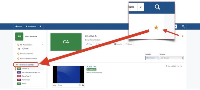 This screenshot shows how to star your channel to add to favorite channel list.