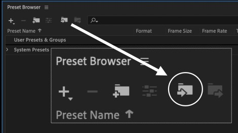 Screenshot of Preset Browser and folder icon to import preset.