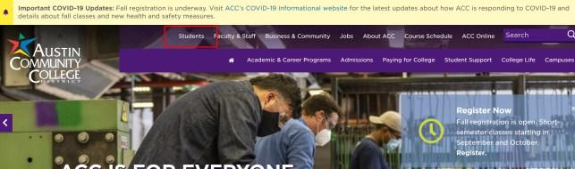 screenshot of Students link
